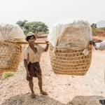 man carries rice crisps