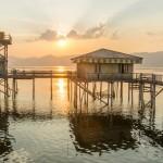 lake inle stilthouse sunset