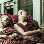 Monks sleeping on Train Burma